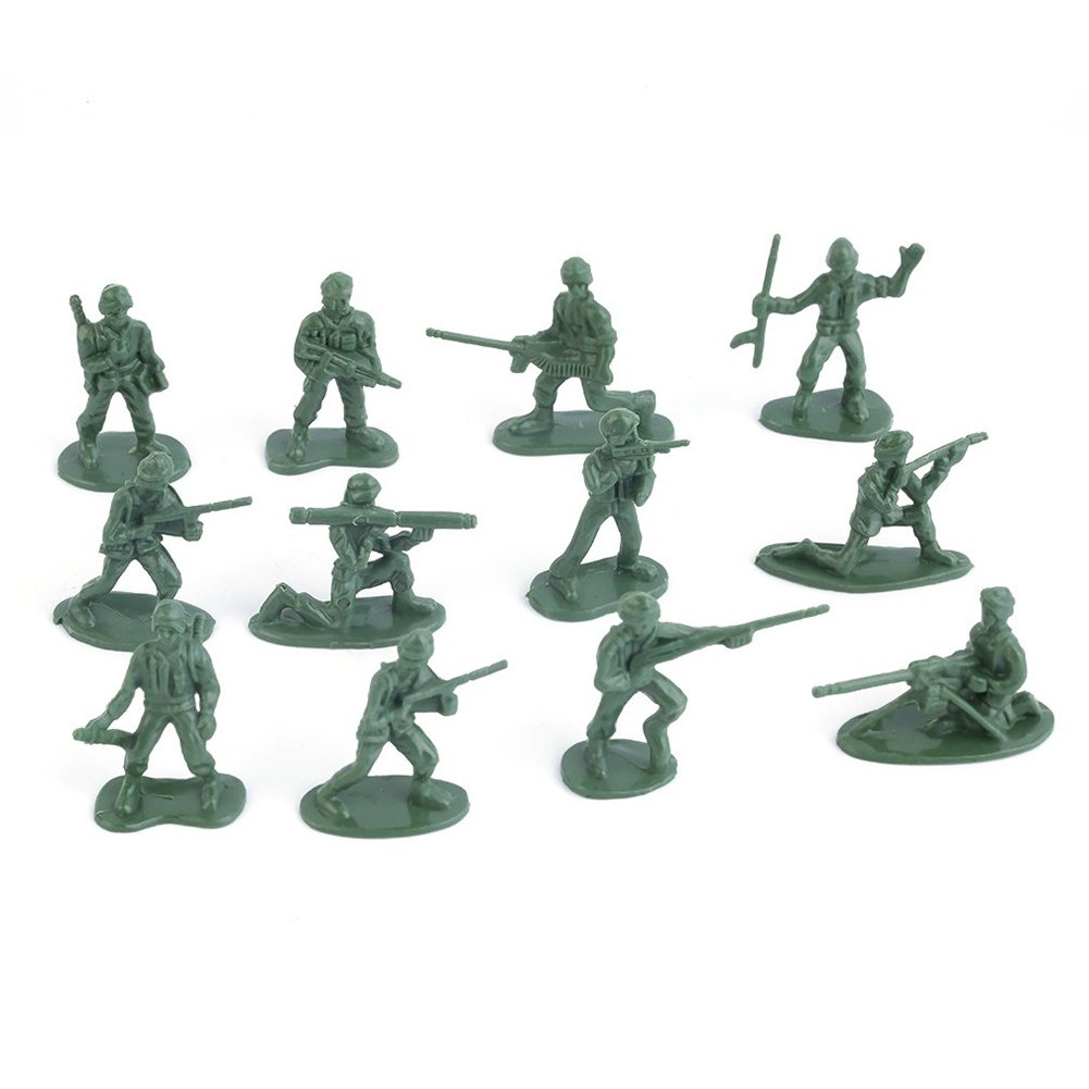 100Pcs Military Plastic Simulation Army Soldiers Model Kids Toy Collection Gift (Green) CactusAngui