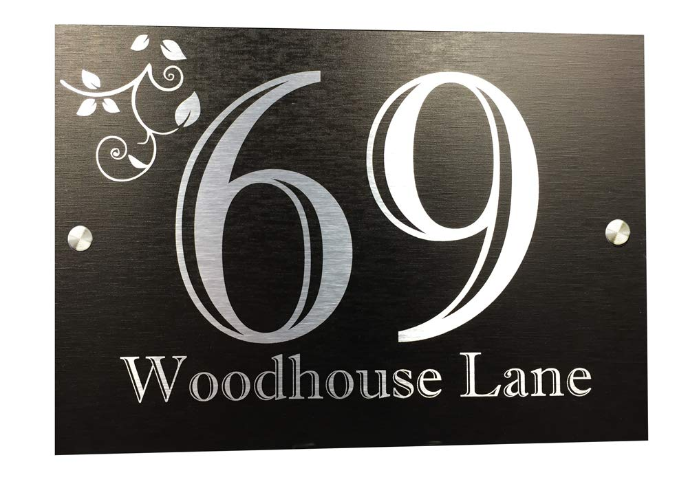 Acrylic Master Executive Address Plaque | House Numbers | Black and Silver Aluminium