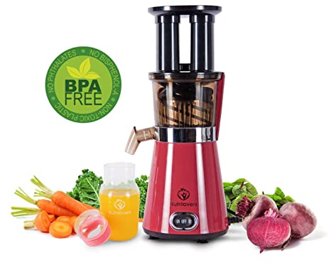 nutril Overs Exprimidor Slow Juicer eléctrica, verduras y frutas Licuadora, 350 W, saludable