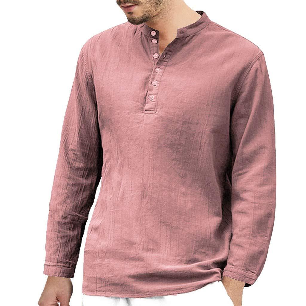 Shirt Herren Sommer V-Ausschnitt Bluse Baumwolle Leinen Langarm Button Retro T-Shirts Baggy Tops