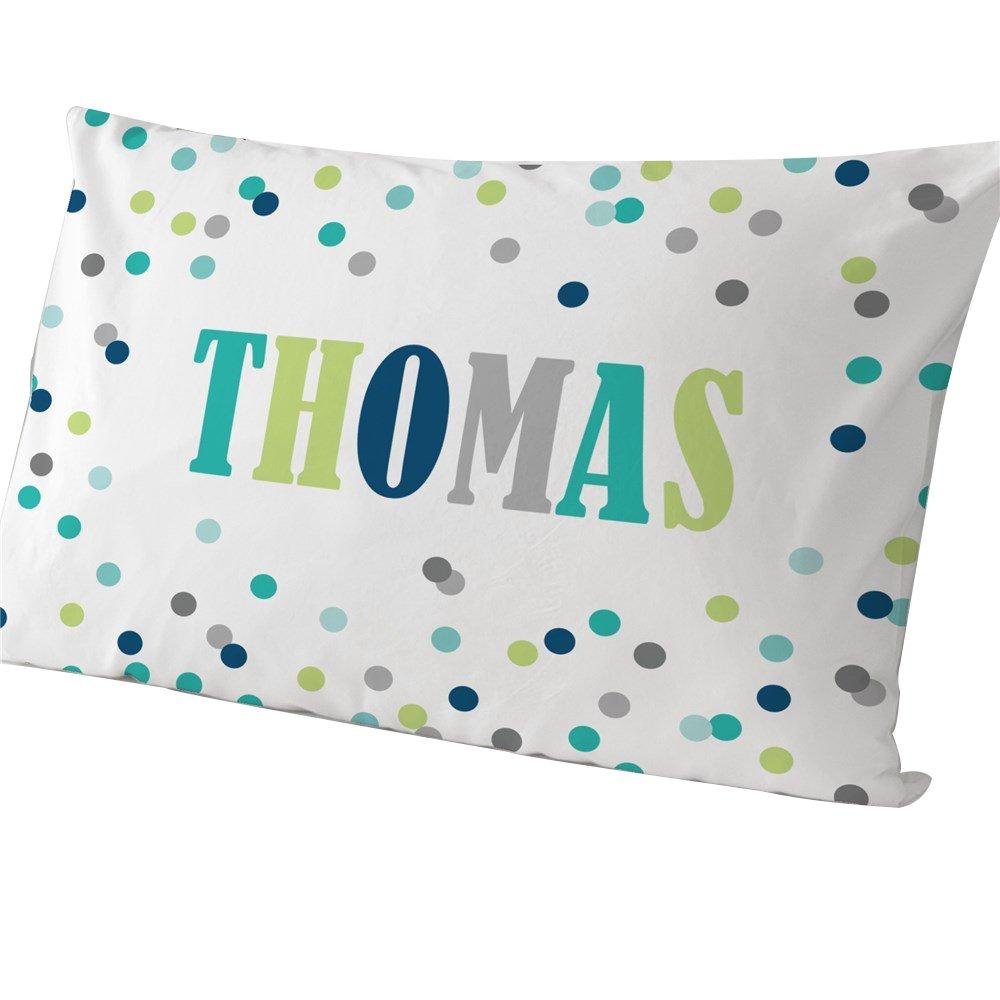 GiftsForYouNow Polka Dots Personalized Pillowcase Boy