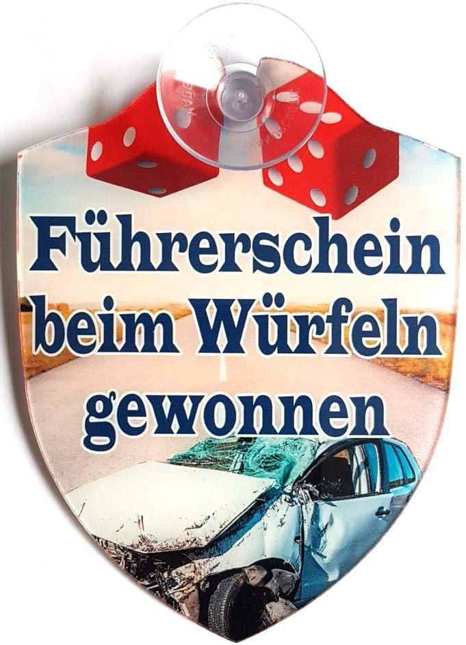 Saugnapf//Autoschilder F/ührerschein beim W/ürfeln gewonnen Schilder Lustige Windschutzscheibe inkl F/ührerschein