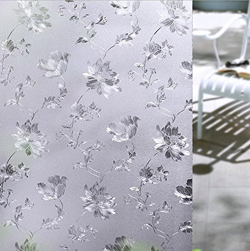 Yingli Premium 2D Static Cling No Glue Stained Glass Decorative Window Film  Vinyl Scrub Privacy Window Film  60X200cm  Hibiscus