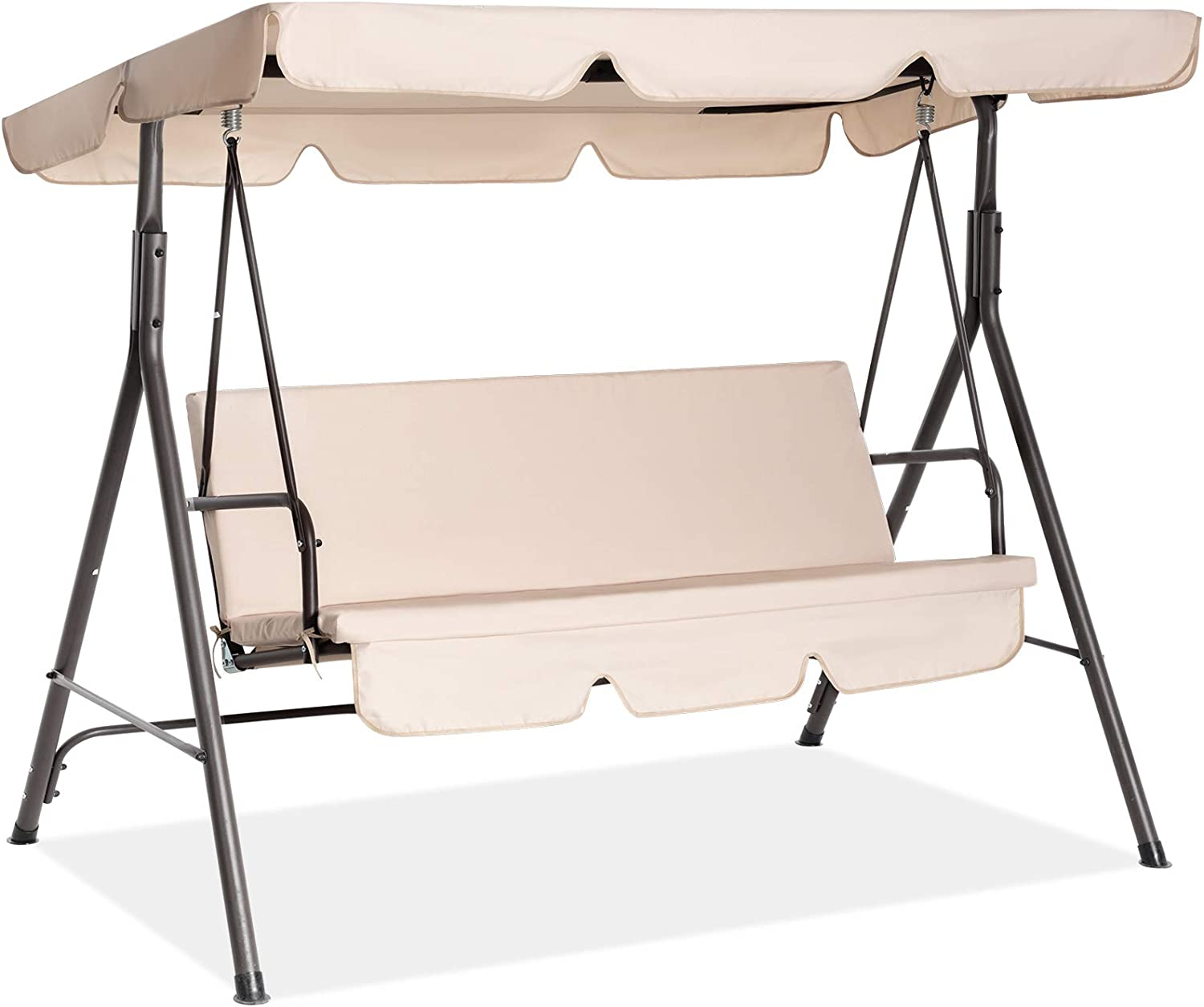 Fundouns 2-Person Patio Porch Swing Chair, Patio Swing with Canopy and Removable Cushions - Beige