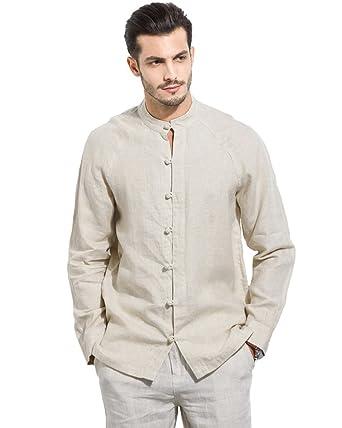 1a42c812adc0 UAISI Herren Sommer Lange Ärmel Chinesischen Kragen Komfortable Bettwäsche  Hemden (S, Leinen)