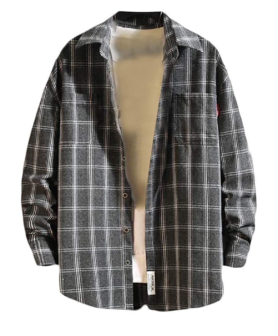 AngelSpace Mens Baggy Plaid Long-Sleeve Shirts Japanese Square Collar Jackets
