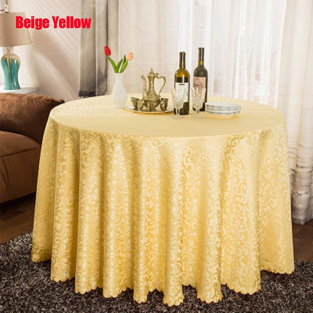 1PC Multi Size White Polyester Hotel Dinner Table Cloth Round Washable Gold Crocheted Floral Tablecloth For Wedding Party Decor  Beige Yellow B07R23FZKN