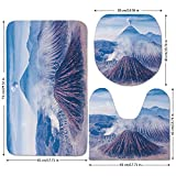 3 Piece Bathroom Mat Set,Volcano,Bromo Batok and Semeru Volcanoes Java Island Indonesia Magma Activity Decorative,Light Blue Mauve White,Bath Mat,Bathroom Carpet Rug,Non-Slip
