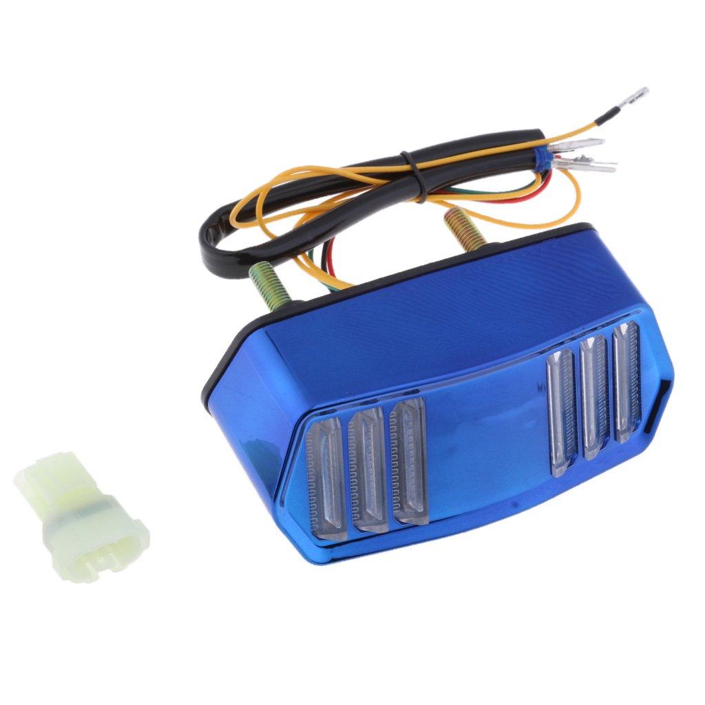 Red Homyl Aluminum 12V Motorbike Brake Taillight Turn Signal Light Indicator Fit for Honda Grom MSX125 CBR650F