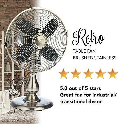 Oscillating Table Fan - 10 Inch Retro Style Desk Fan (Stainless Steel)
