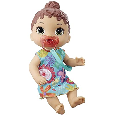 Baby Alive Baby Lil Sounds: Interactive Brown Hair Baby Doll for Girls & Boys Ages 3 & Up, Makes 10 Sound Effects, Including Giggles, Cries, Baby Doll with Pacifier: Toys & Games
