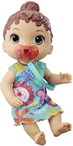 Baby Alive Baby Lil Sounds: Interactive Brown Hair Baby Doll for Girls & Boys Ages 3 & Up, Makes 10 Sound Effects, Including Giggles, Cries, Baby Doll with Pacifier