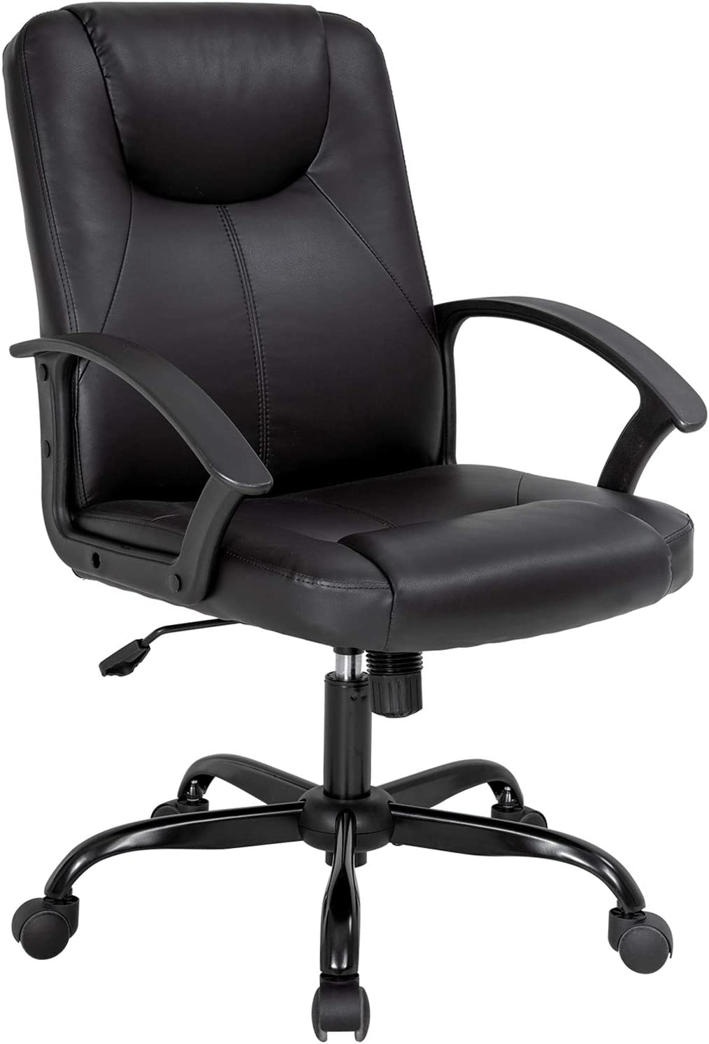 Office Chair Desk Chair Computer Chair with Lumbar Support PU Leather Executive Ergonomic Chair Rolling Swivel Adjustable Task Chair for Men(Black)