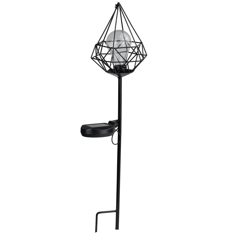 Northlight Diamond Solar Powered LED Outdoor Patio Metal Lantern with Garden Stake, 25.5'', Black