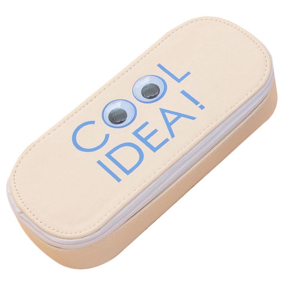 Cosanter Pencil bag case Holder tela grande contenitore lovely Eyes modello per occhiali da trucco (beige)