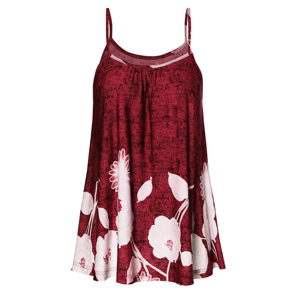 V Neck Blouses for Women Plus Size, Plus Size Shirt,Fashion Women Sexy Sleeveless Cold Shoulder Floral Print Strap Casual Camis Top Red