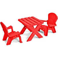 CASART Kids Furniture Set - Red Table and 2 Chairs with Plastic Materials for Eating Learning, Reading, Drawing Home Indoor