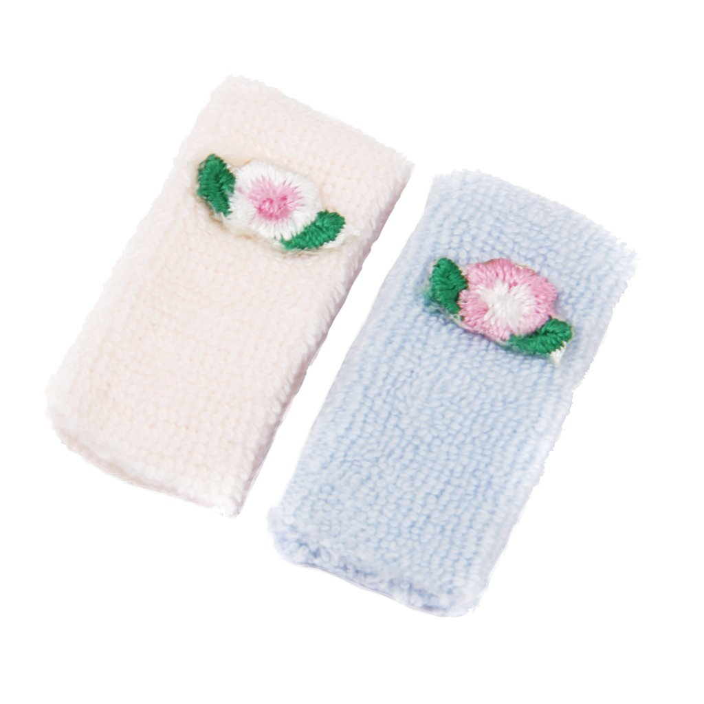 1/12 Doll House Miniature Towels Accessory 2pcs Pink and Blue Generic