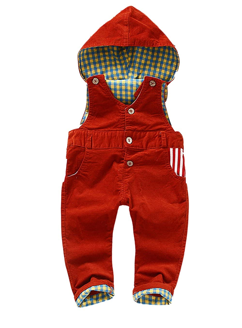 Kidscool Baby /& Little Corduroy Plaid Lining Soft Cute Hooded Overalls