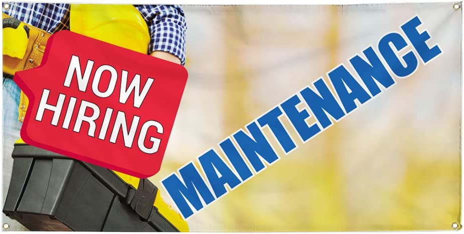 Multiple Sizes Available Vinyl Banner Sign Now Hiring Maintenance Business Marketing Advertising Yellow 44inx110in 8 Grommets One Banner