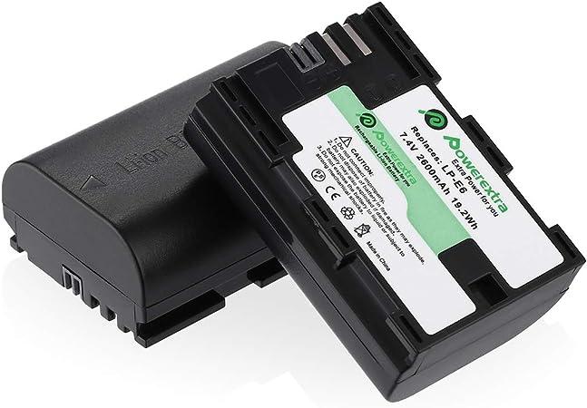 Image ofPowerextra Pack de 2 baterías para Canon LP-E6 LP-E6N y Canon EOS 70D, EOS 5D Mark II, 5D Mark III, 7D Mark II, EOS 80D, 60D, 6D, 7D, 5DS, 5DS R y BG-E14, BG-E13, BG-E11, BG-E9, BG-E7, BG-E6 Grips...