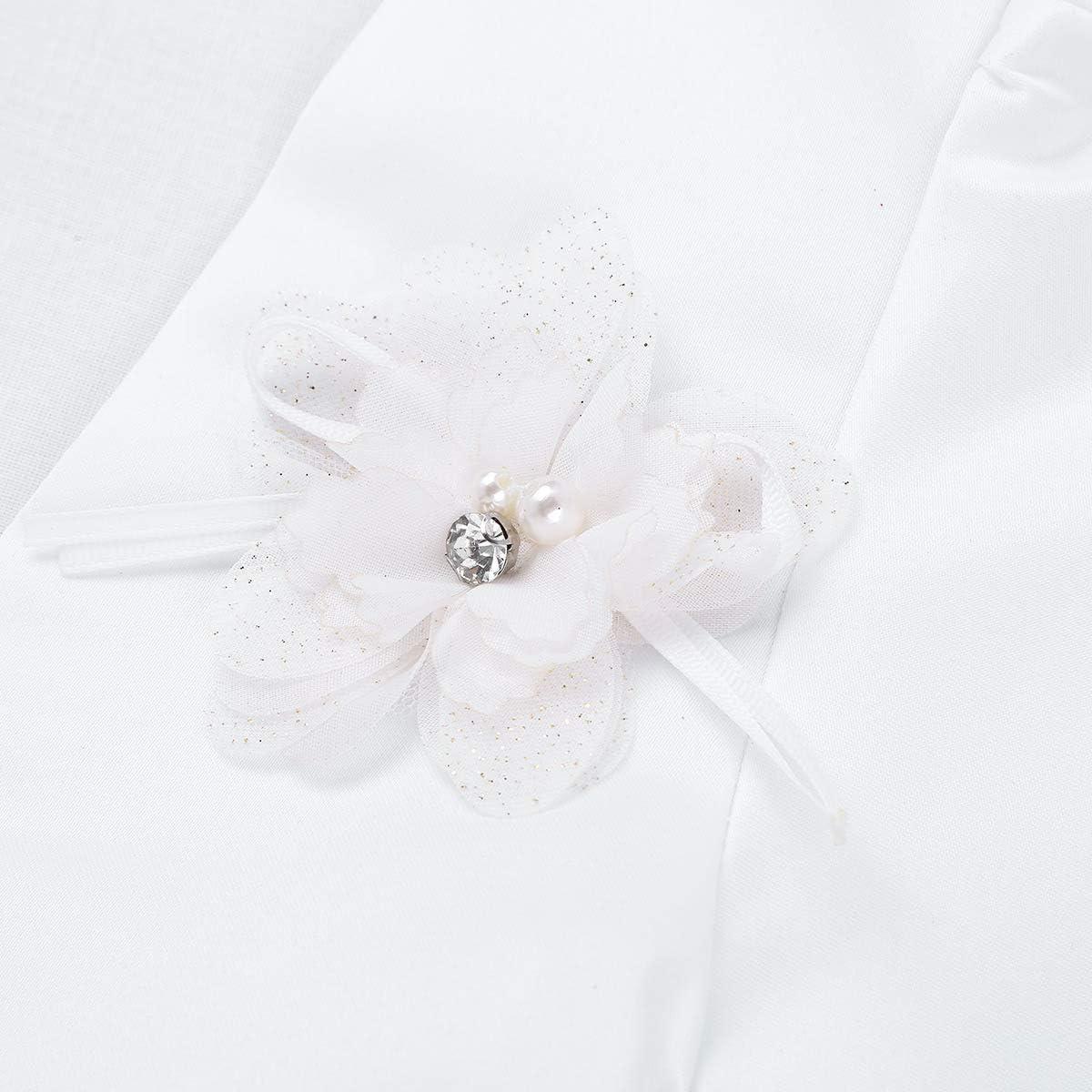Yeahdor Kids Flower Girls Satin Bolero Jacket Short Shrug Cardigan Wedding Birthday Party Dress Cover up