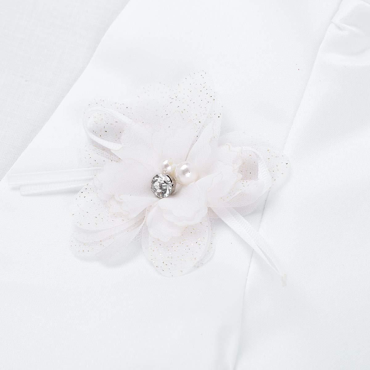 Freebily Kids Girls Long Sleeves 3D Flower Bolero Jacket Shrug Short Open Cardigan Sweater Dress Cover Up