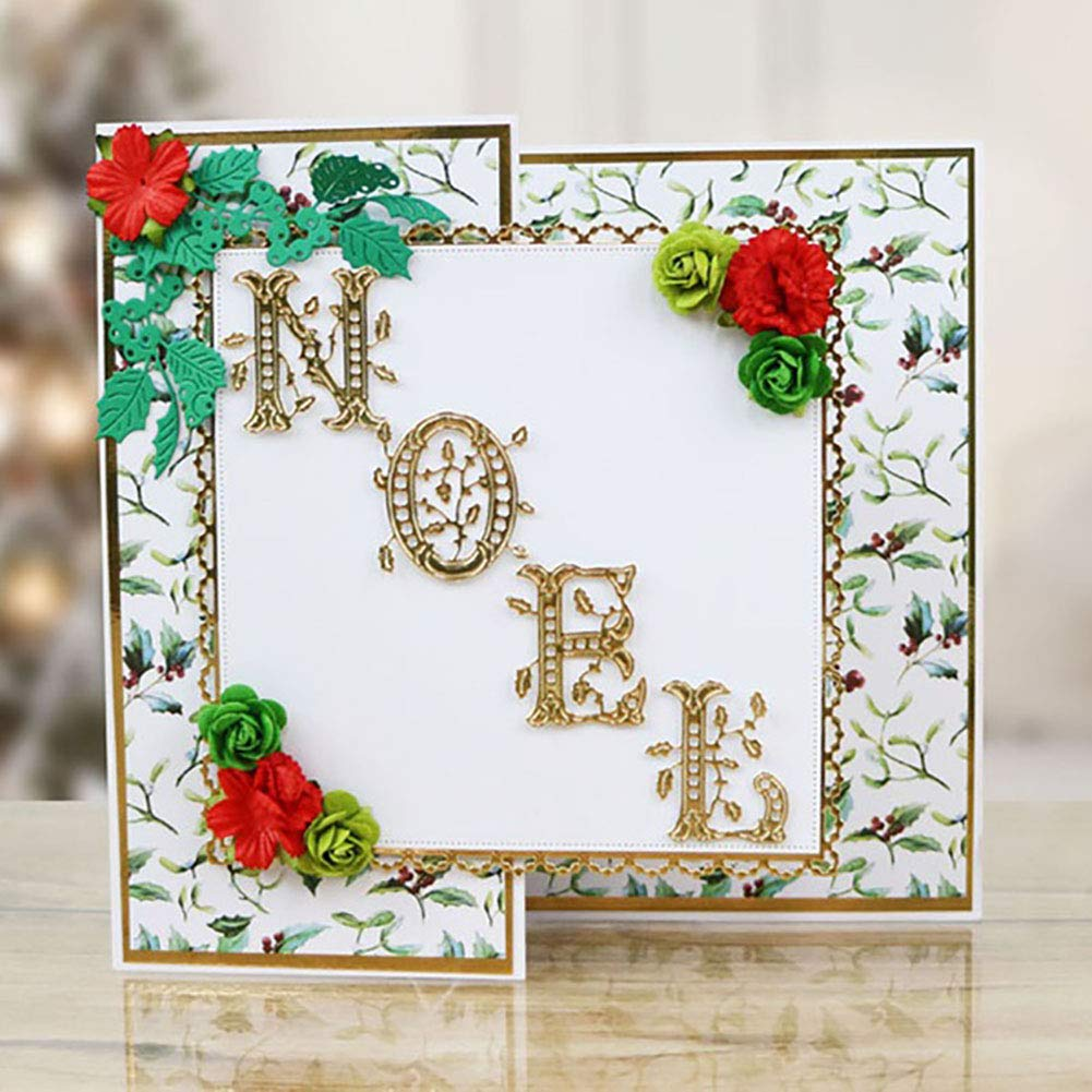 pengyu Christmas Wish Letters Metal Cutting Dies DIY Scrapbooking Album Decor 6Pcs/Set Silver
