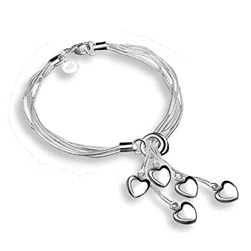 joyliveCY Fashion 925 Sterling Silver Jewelry Circles Chain Trendy Women Bracelet Bangle xa8At