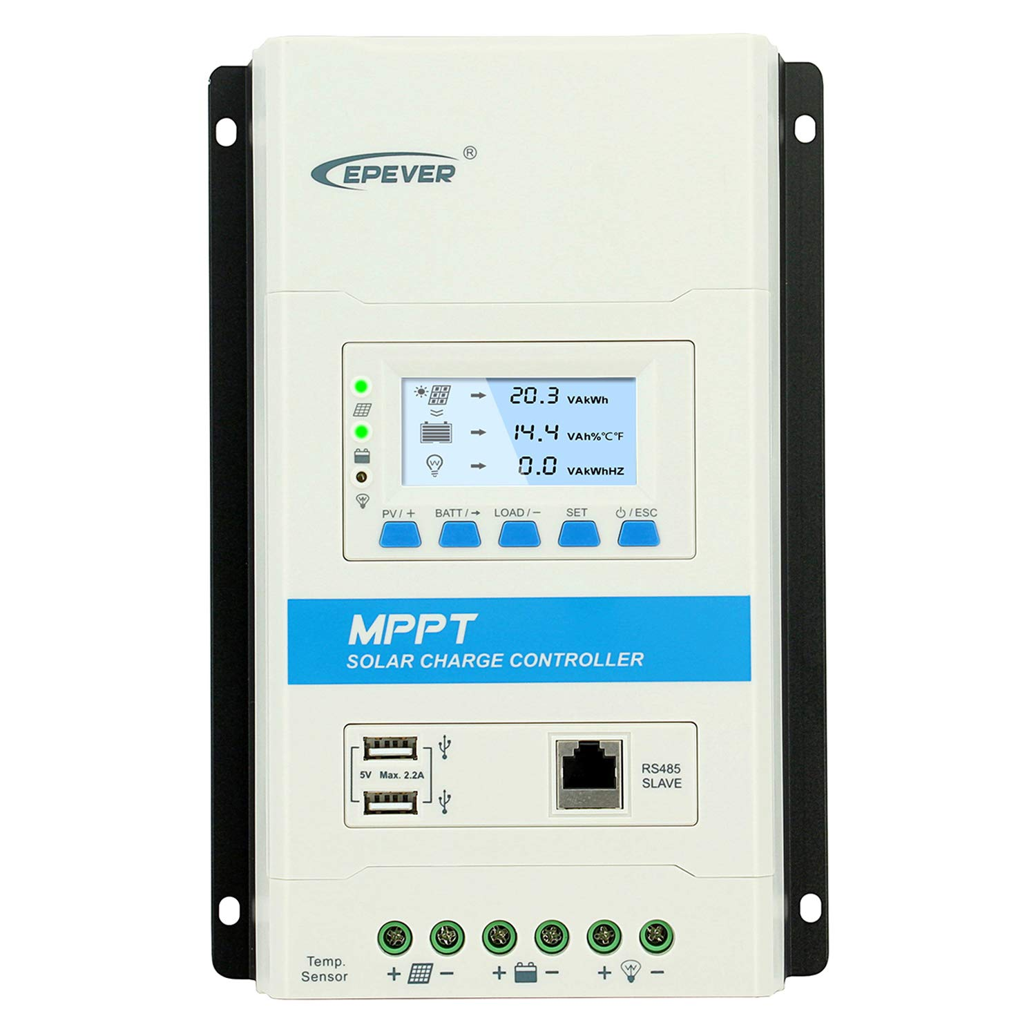 EPEVER Latest MPPT 30a Solar Charge Controller, 12V 24V TRIRON 3210N Intelligent Modular-Designed Regulator with Software Moblie APP Updated Version of Tracer A an Series