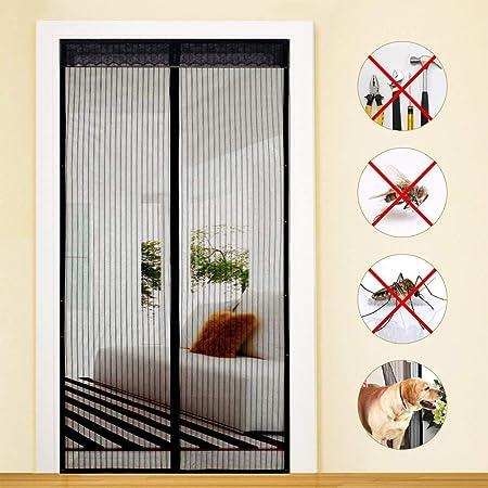 MENGH Mosquitera Puerta Magnetica 190x220cm Pantalla MagnéTica Adsorción magnética Plegable Fácil de Instalar para Pasillos/Puertas Negro A: Amazon.es: Hogar
