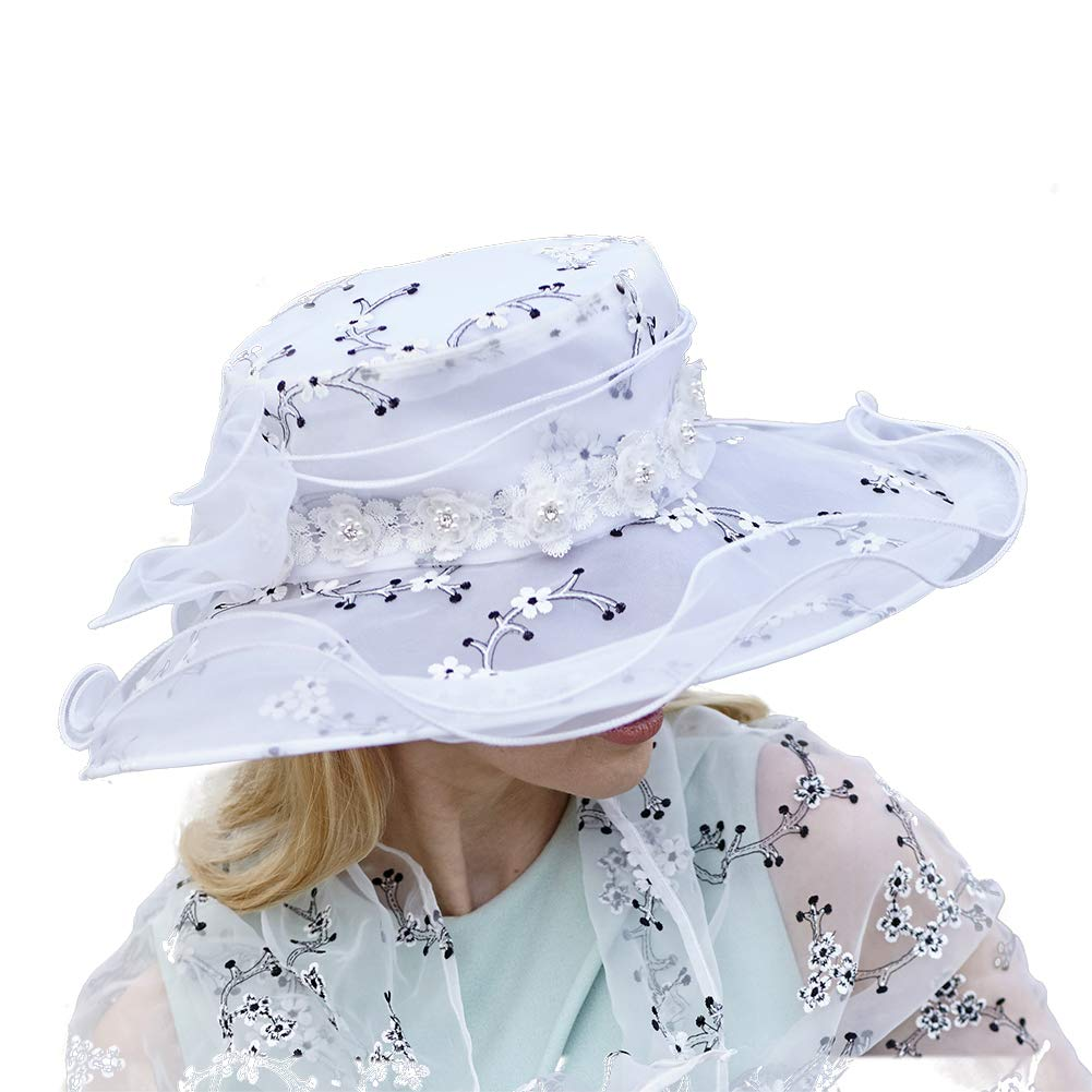 June's Young Women Hats Organza Lace Polka Dot Black White Wedding Wear Fedoras (Light Blue) by June's Young