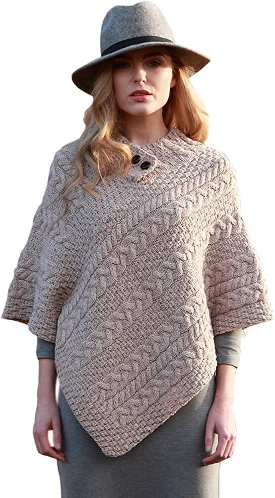 One Size Fits All 100/% Real Irish Wool Ladies Irish Wool Poncho Made in Ireland