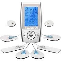 TEC.BEAN Mini TENS Massagegerät mit 12 Modi und 8 Elektrodenpads zur Schmerzlinderung