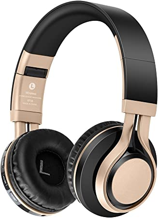 Bluetooth Over-ear, EONANT 4 en 1 BT-08 4.0 Auriculares Inalámbricos Bluetooth Auriculares Plegables con Micrófono / FM / TF Card / AUX para PC TV Smart Phones & Tablets (Black-Gold): Amazon.es: Hogar