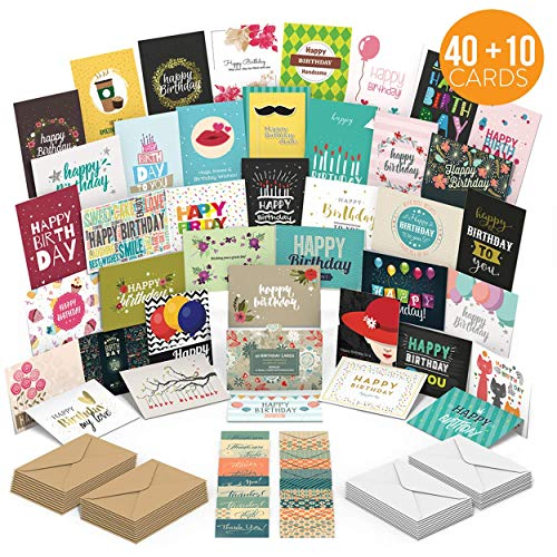 Birthday Cards Assortment with 40 Unique Designs - Blank Inside - Premium Quality Birthday Cards Bulk Box Set With Envelopes - A Happy Birthday Card For Everyone - Perfect For ()