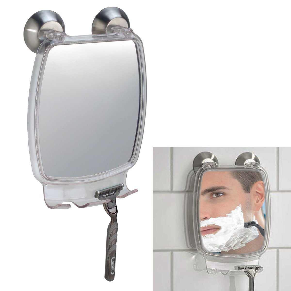 With Power Suction Cup Mount Fog Free Shower Shaving Rectangular Mirror