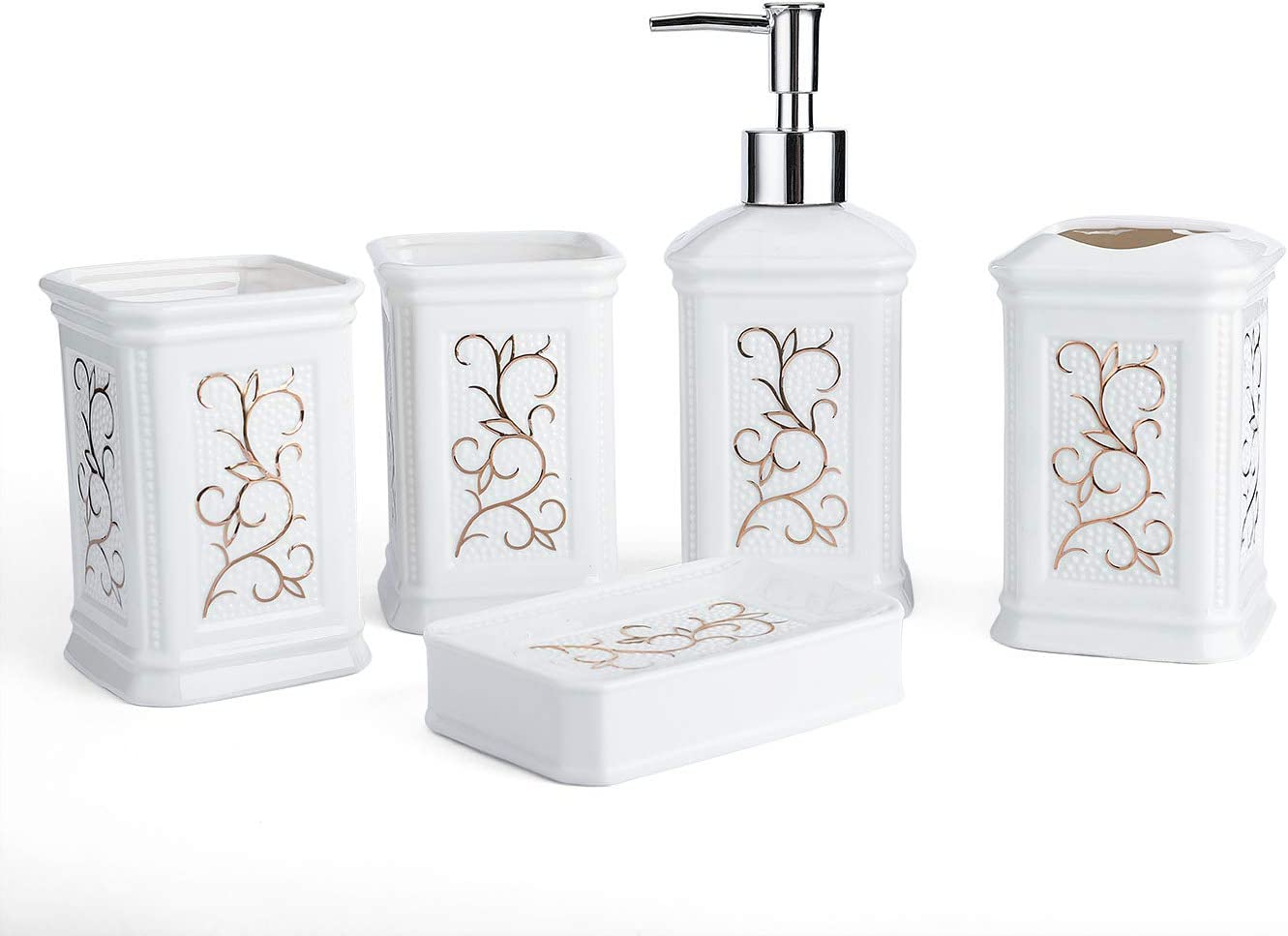 Longhang 5-Piece White Porcelain Ceramic Bathroom Accessories Set, Bath Decor Includes Liquid Soap or Lotion Dispenser Pump, Toothbrush Holder, Tumbler and Soap Dish, Ideas Home Gift
