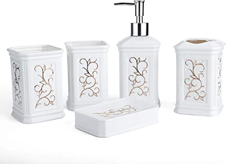 Amazon Com Longhang 5 Piece White Porcelain Ceramic Bathroom Accessories Set Bath Decor Includes Liquid Soap Or Lotion Dispenser Pump Toothbrush Holder Tumbler And Soap Dish Ideas Home Gift Home Kitchen
