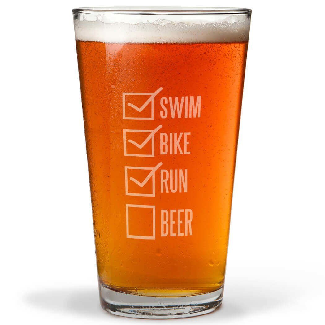 Swim Bike Run Checklist Engraved Beer Pint Glass By ChalkTalk SPORTS | 16 oz.