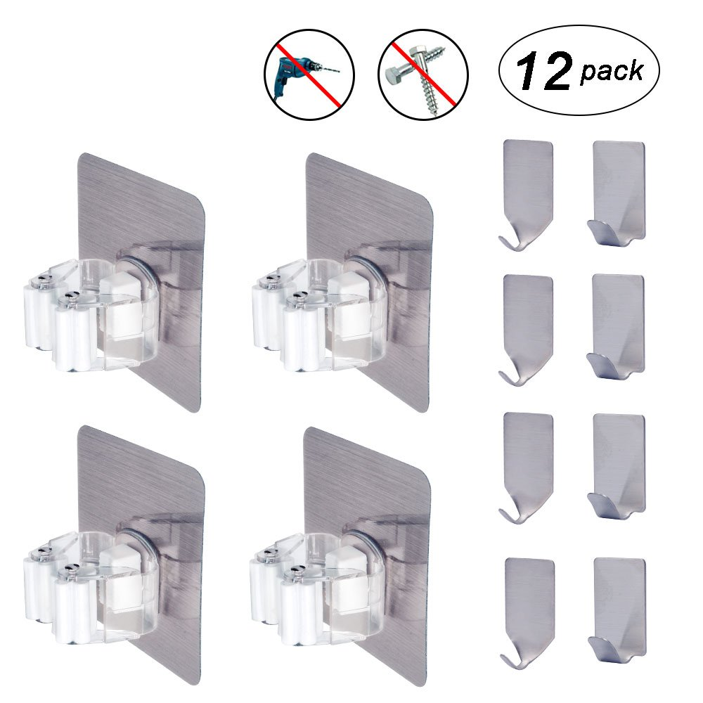 Flecom Mop Holder, 12 Pack Broom Holder Wall Mount with Adhesive Hooks Heavy Duty Wall Hooks Waterproof Wall Hangers for Kitchen Bathroom Wardrobe and Home