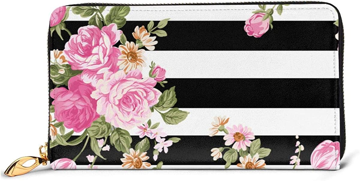 Striped Pattern With Flowers Womens New Design Purse Clutch Bag Card Holder New Fashion Wristlets Wallets