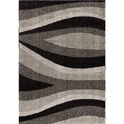 (Orian Rugs Modern Royal Shag Trailed Swirls black/gray 7' X 10')