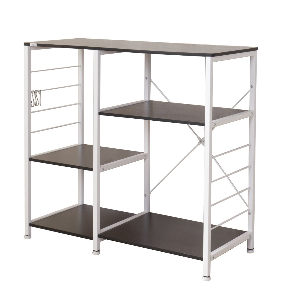 DlandHome Microwave Cart Stand 35.4'', Kitchen Baker's Rack Utility Storage Shelf Microwave Stand 3-Tier+3-Tier for Spice Rack Organizer Workstation Shelf, 171-B Black, 1 Pack by DlandHome (Image #2)