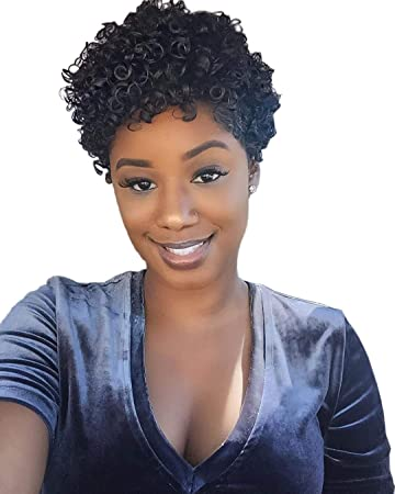Amazon.com   Naseily Short Afro Wig Heat Resistant Synthetic Wigs For Black  Women African American Short Hair Wigs Short Curly Pixie Cut Wig   Beauty 83ece374a
