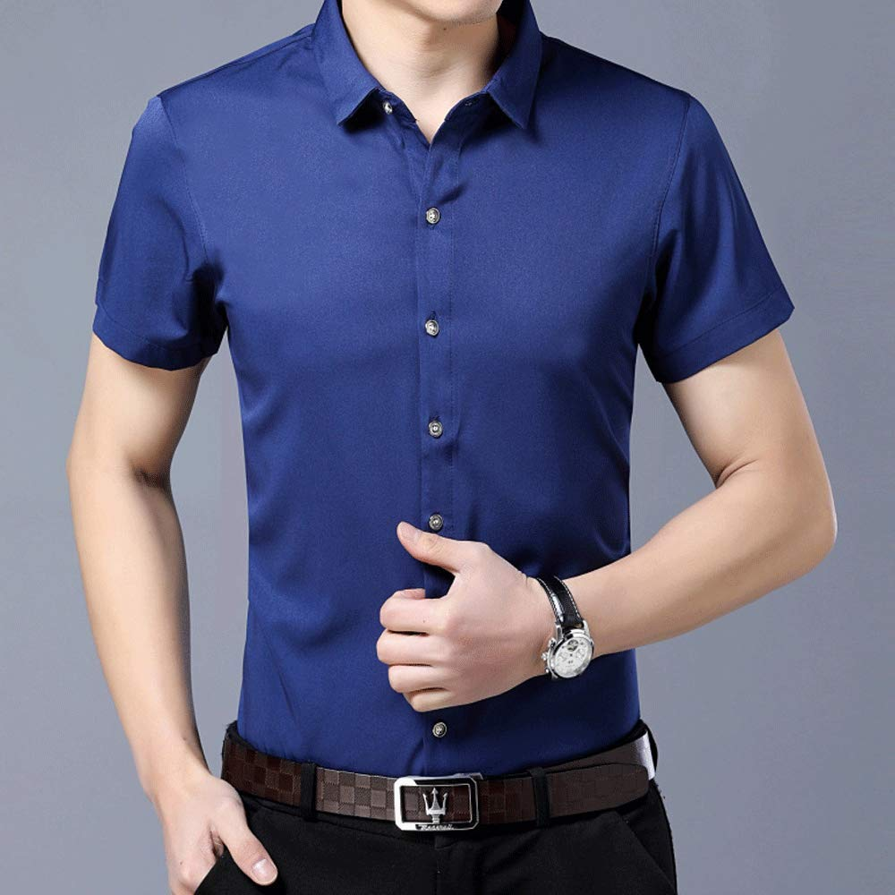 Mens Basic Short Sleeve Dress Shirt Classic Solid Color Button Down T-Shirts