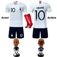GESUNDHOME Maillots de Foot Mbappé Enfant 2018 France 2 Étoiles T-Shirt Short Chaussettes avec la Figurine Mbappé