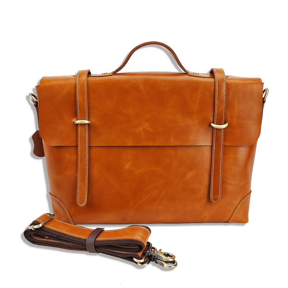 Genuine Leather Messenger Bag Business Work Briefcase for Men Carry Laptop Computer Book Handmade by FICUS