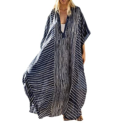 Bestyyou Women's Semi-Sheer Chiffon Long Caftan Lounger Printed Kaftan Dress Bathing Suit Bikini Swimsuit Cover Up Swimwear (Striped A) at Amazon Women's Clothing store