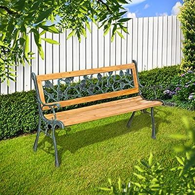 SSITG Banco de jardín parque banco Muebles de Jardín Banco de madera Hierro Fundido Madera dura rosas: Amazon.es: Jardín